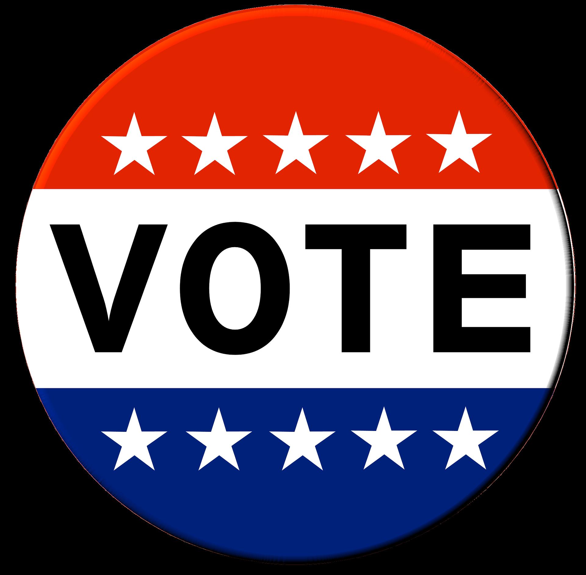 "Red, White and Blue Button ""Vote"" button"
