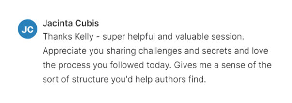 Jacinta Cubis Testimonial - Free Author Workshop by Book Coach Kelly Irving