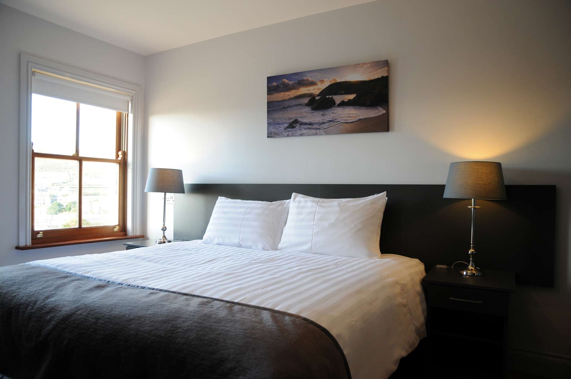 View of the bedroom in our self catering luxury holiday homes for family accommodation in Dingle, Kerry, Ireland