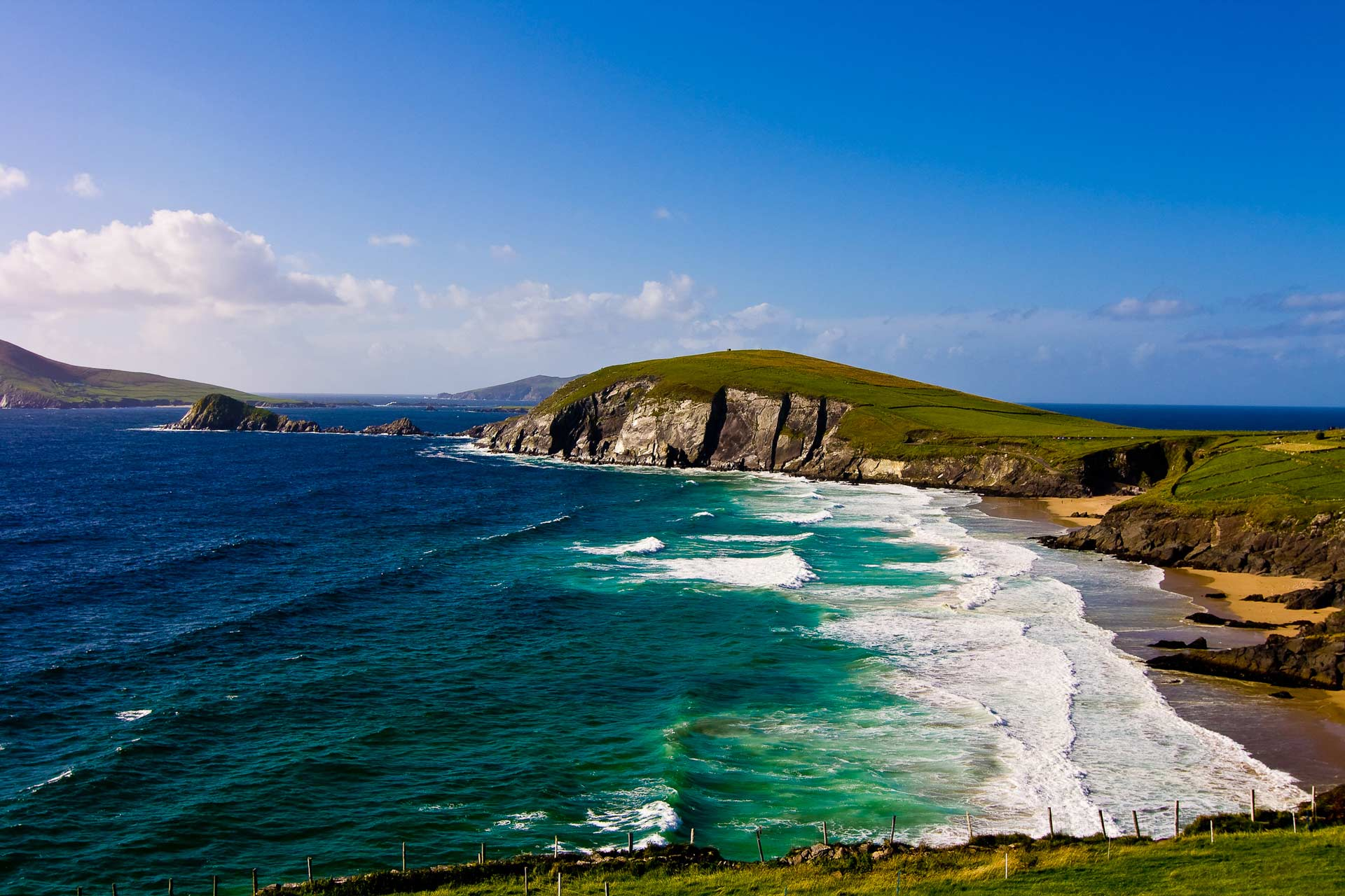 View of Coumeenoole beach on the Slea Head drive, on the Dingle Peninsula, on the Wild Atlantic Way in Ireland