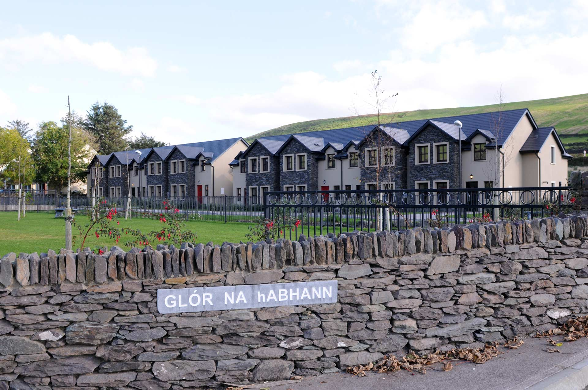 View of Glór na hAbhann luxury self catering holiday homes from the road in Dingle, Ireland