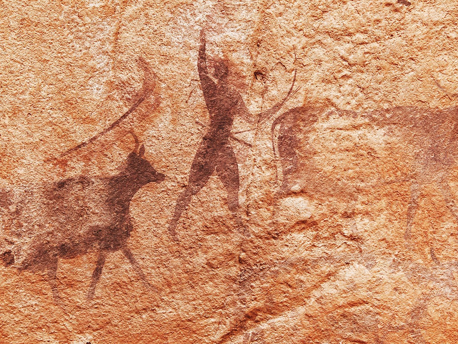 Höhlenmalerei in Form von Piktogrammen aus der Steinzeit.