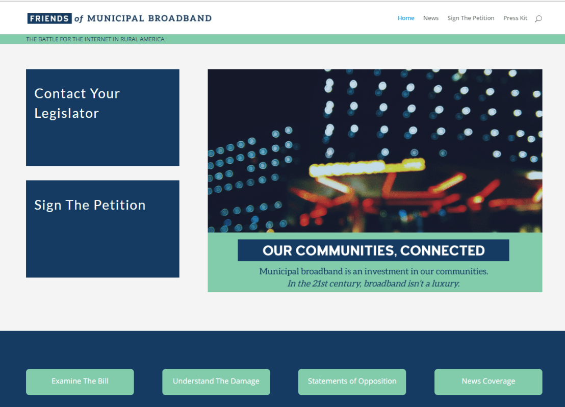 Friends of Municipal Broadband Website Screenshot