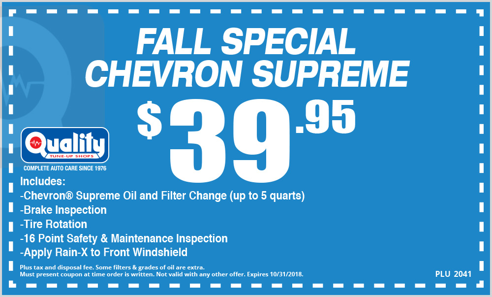 Fall Special Chevron Supreme Oil Change