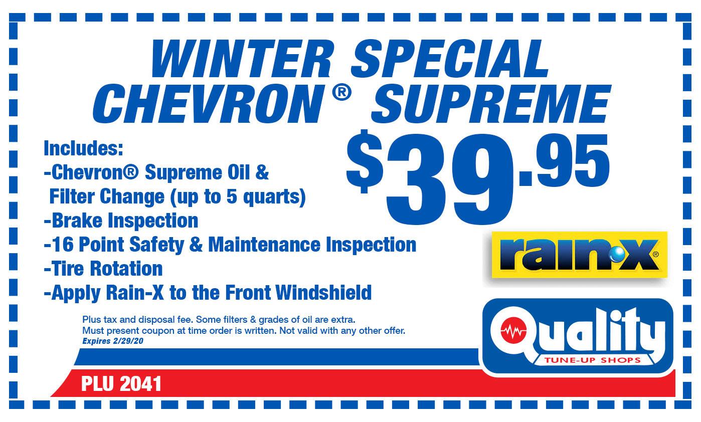 Winter Special Chevron Supreme Oil Change