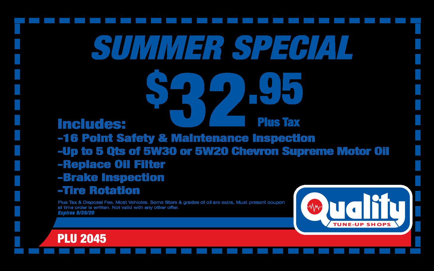 Summer Special Chevron Supreme Oil Change