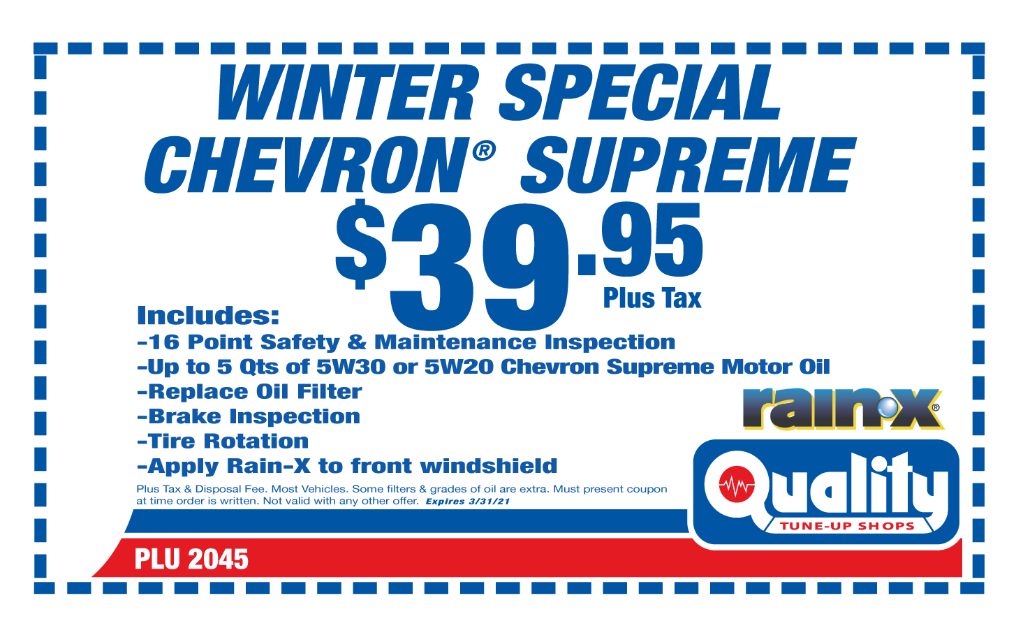 Winter Special Chevron Supreme Oil Change and Rain-X