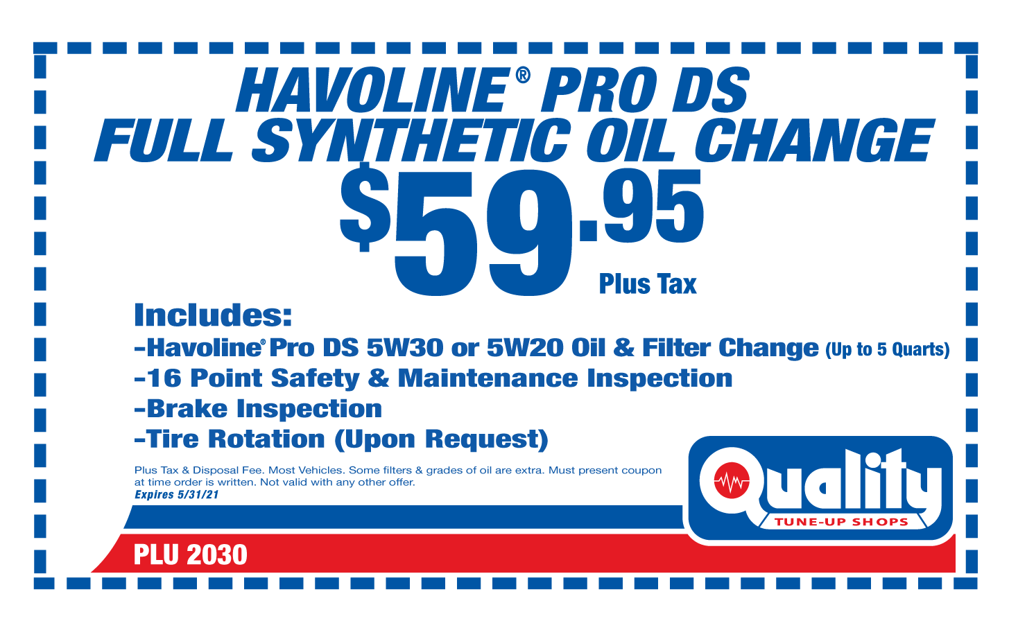 Havoline PRO DS Full Synthetic Oil Change