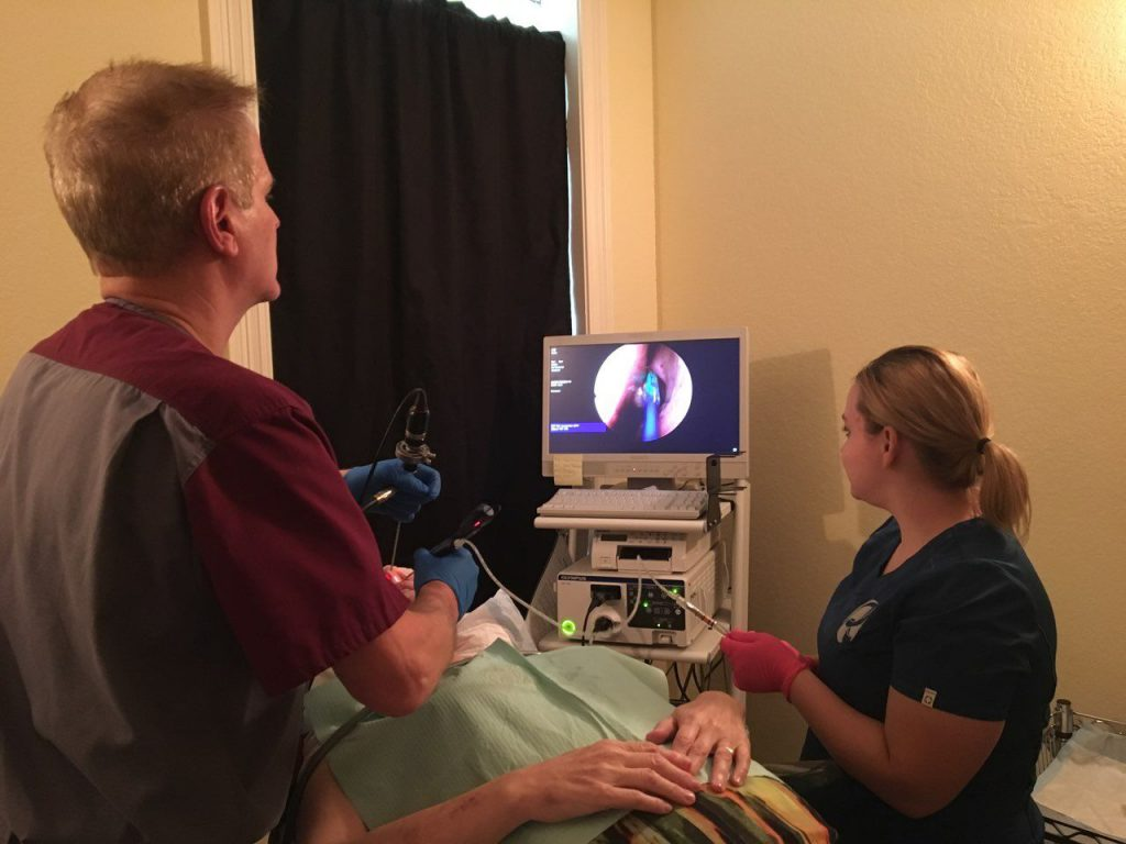 Dr. Riesberg performing an endoscopic sinus procedure.