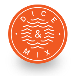 Circular orange badge calling out the Dice and Mix tagline