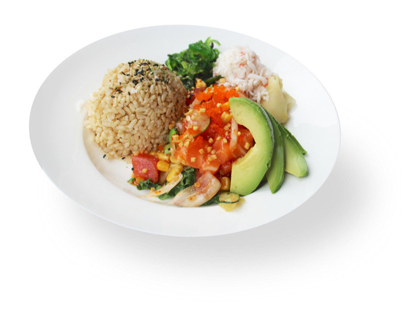 A bowl of fish poke with avocado and rice