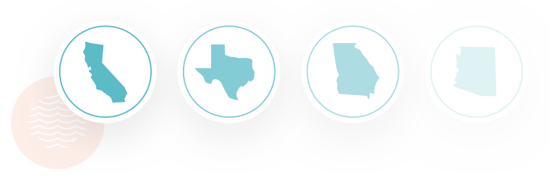 Image of four icons of different states with Poke Bar franchises