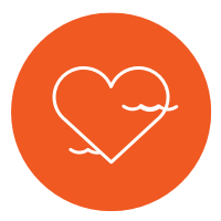 Icon of a healthy heart with waves