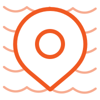 Location pin icon in front of waves