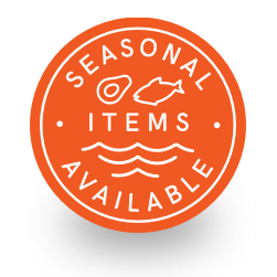 Circular orange badge calling out the availability of seasonal ingredients