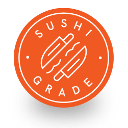 Circular orange badge calling out sushi grade fish