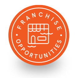 Circular orange badge calling out franchise opportunities