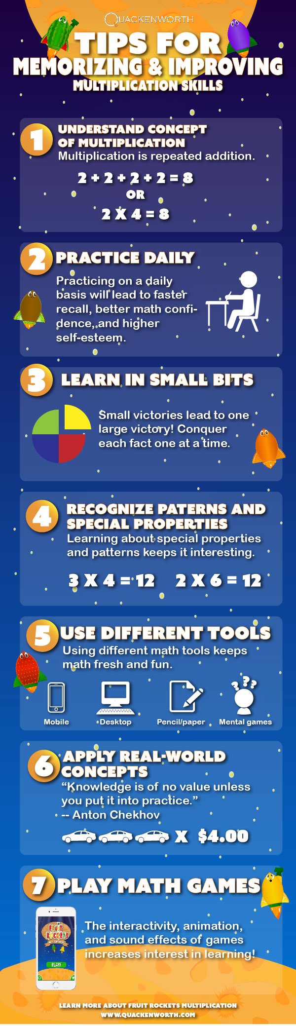 Tips for improving multiplication and times tables.