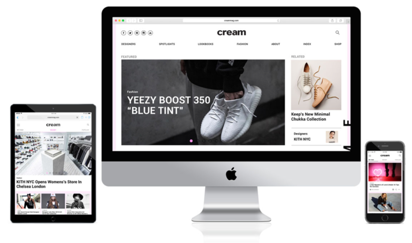 Editorial streetwear magazine web design, tablet, and mobile versions - cream magazine