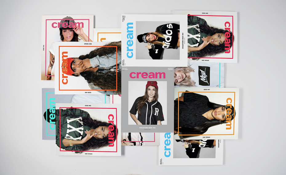 Colorful streetwear magazines stacked up in a grid - cream magazine
