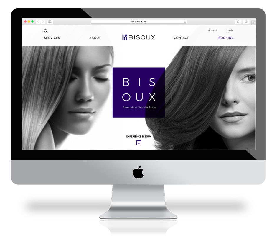 iMac with high end woman's salon homepage design - bisoux