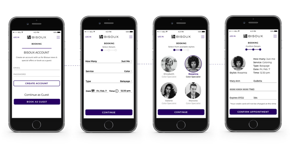 UI Mobile UI design checkout process for high end woman's salon - bisoux