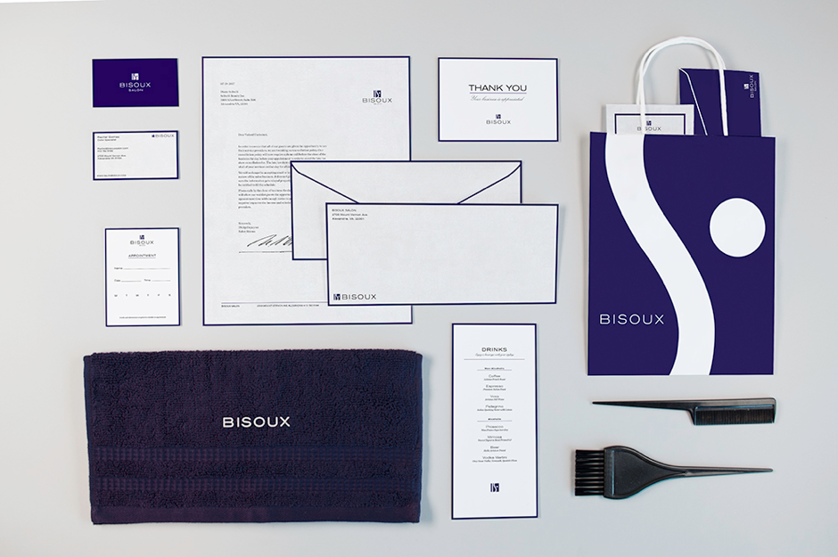 High end woman's salon stationery, brand collateral, and packaging - bisoux