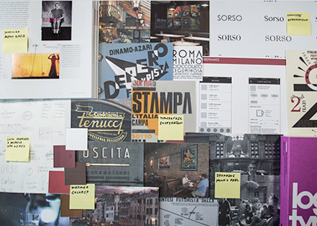Design and strategy process notes, graphics, and inspiration for italian coffee shop - sorso