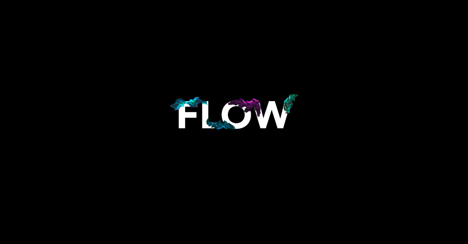 Design conference logo on black background - flow