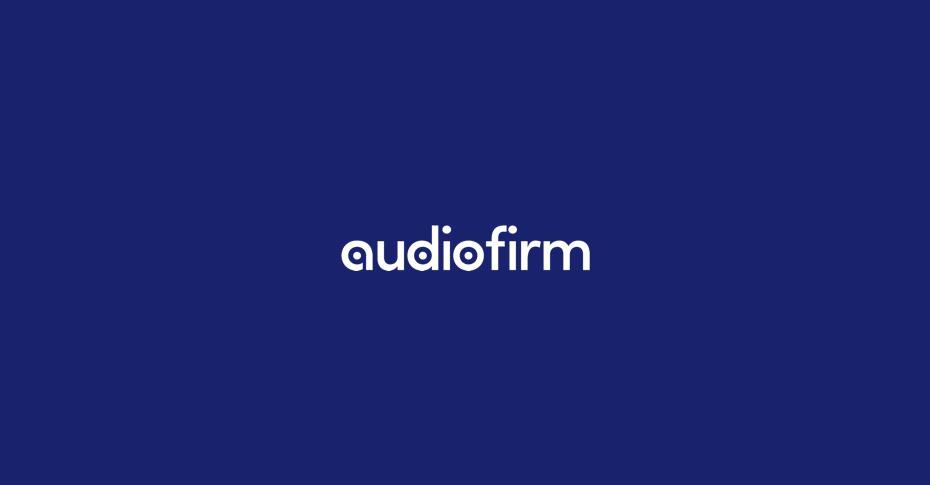 Audiofirm sound studio logo on blue background