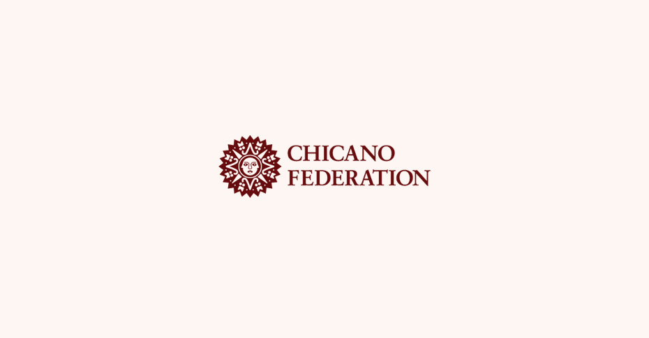 Chicano Federation logo on light cream background with sun dial logomark