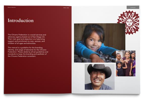 Chicano brand manual introduction design spread