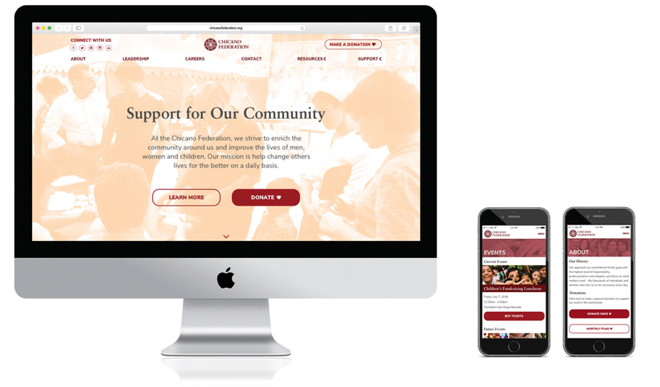 Website design and mobile screens for the new Chicano Federation website
