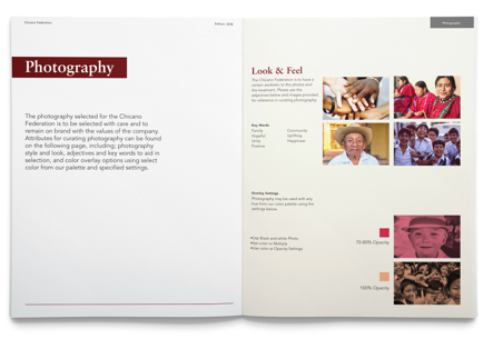 Design guidelines manual of photography for the Chicano Federation