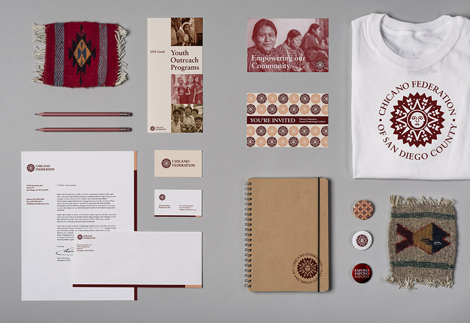 Photography payoff of Chicano Federation stationery and brand assets