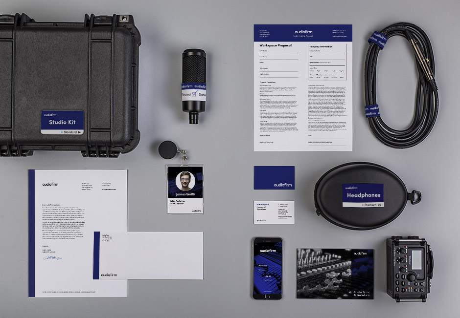 Audiofirm payoff with sound recording equipment and stationery