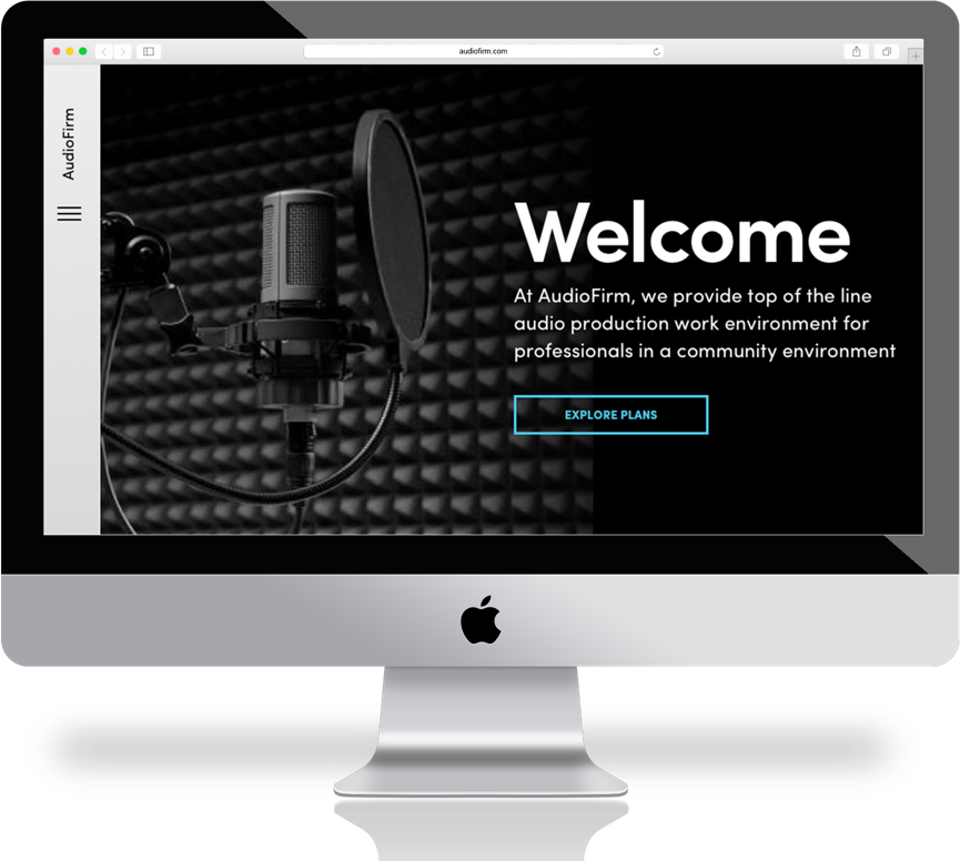 Audiofirm homepage for sound studio plans and rentals