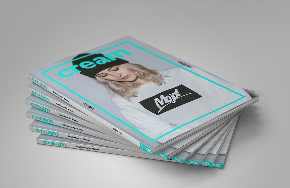 Stack of woman's streetwear magazines with green border - cream magazine