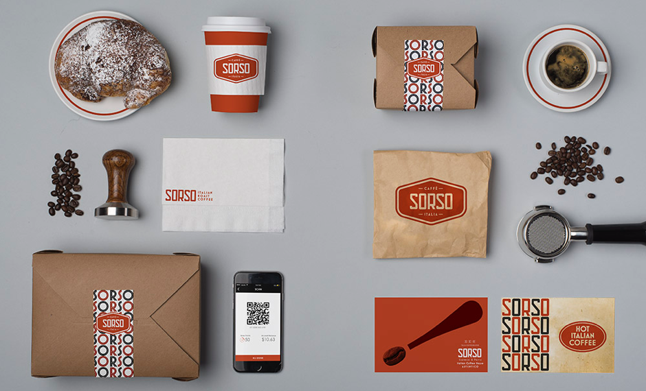 Italian coffee shop items and branded packaging - sorso