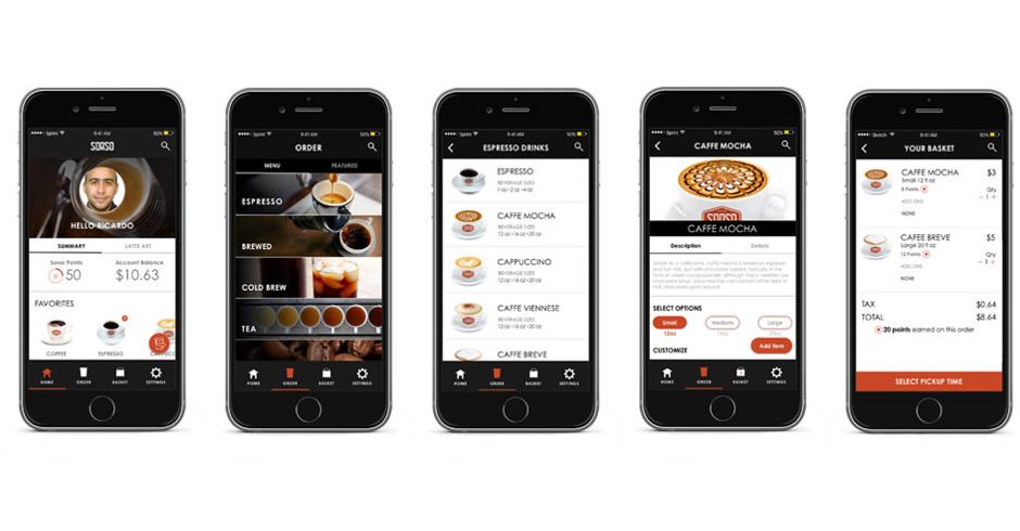 Coffee shop app visual design of coffee ordering process - sorso