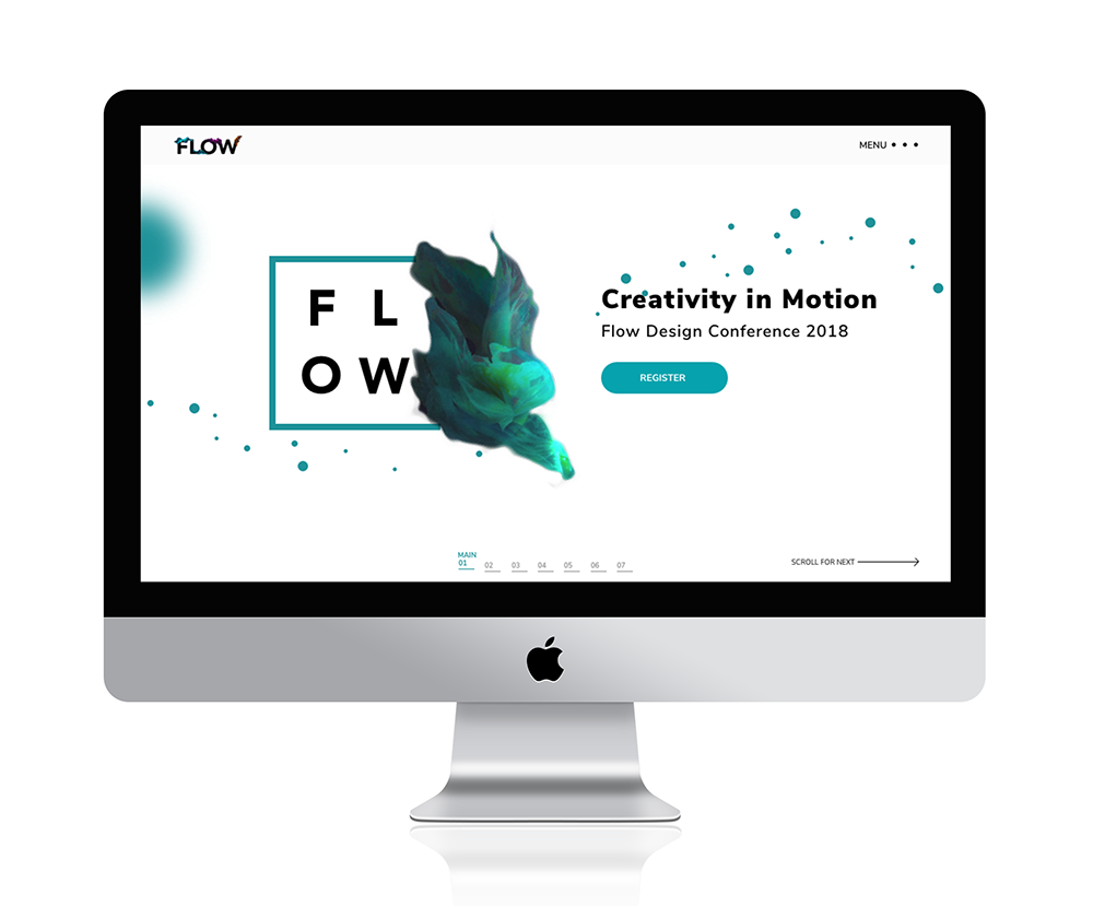 iMac with design of conference website - Flow