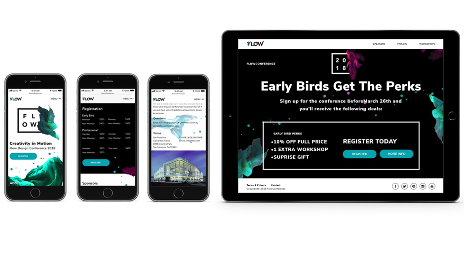 iPhone and iPad with graphics for a design conference - Flow