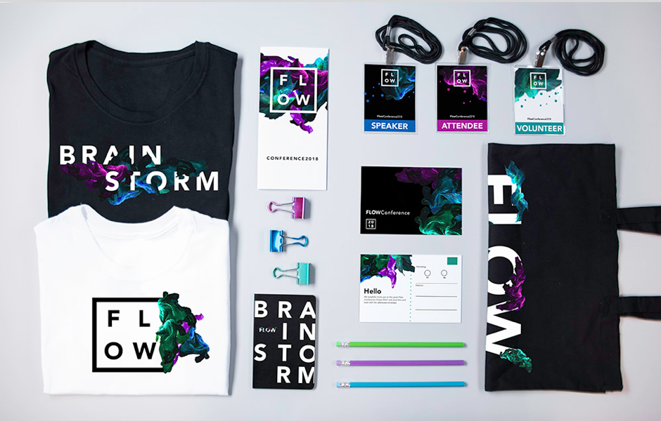 Design conference badges, bags, clothing and promotional items - Flow
