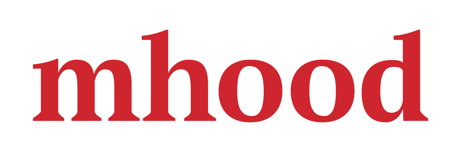 mhood design red logo typographic