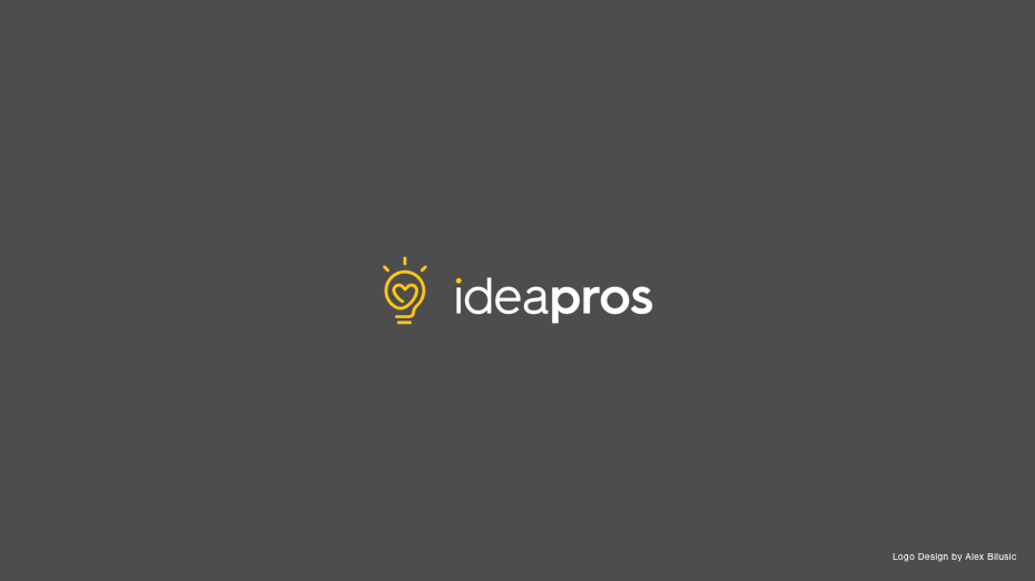Typographic ideapros logo with steel grey background