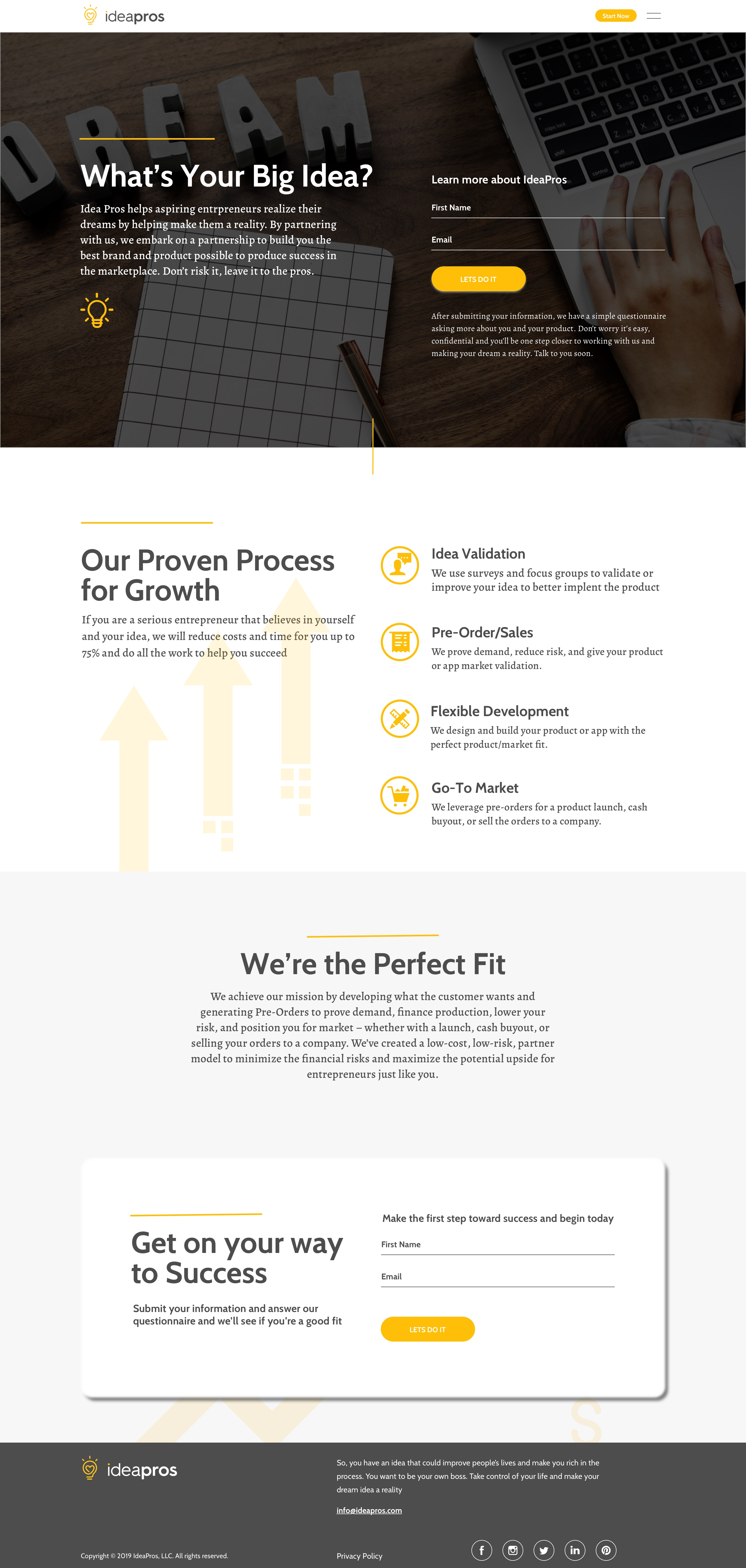 IdeaPros Landing Page Visual Design
