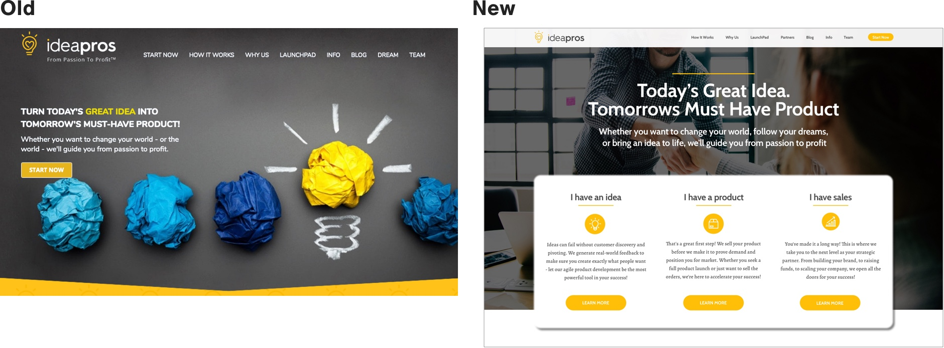 IdeaPros Home Page Design Comparison New and Old