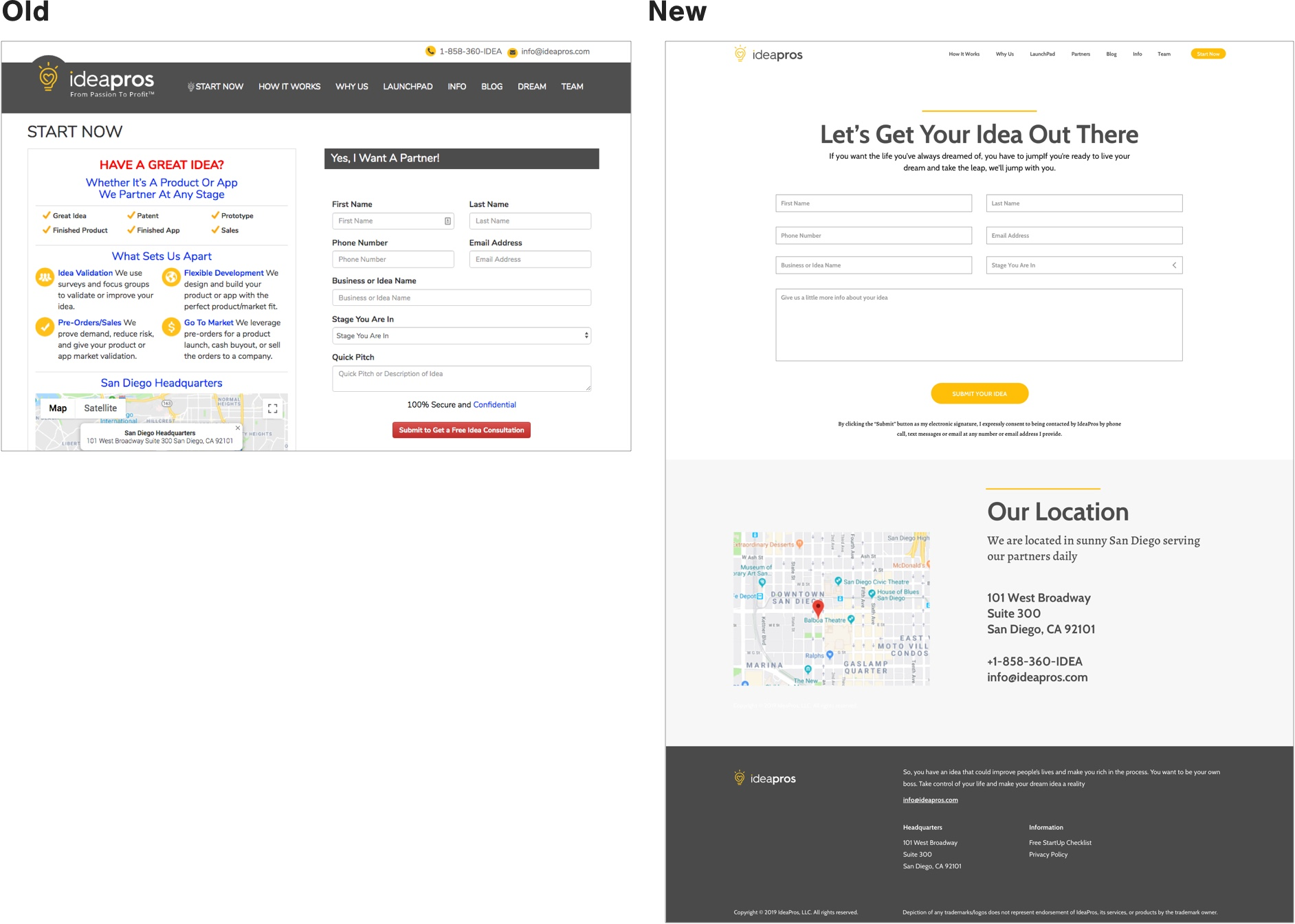 IdeaPros Start Now Page Design Comparison New and Old