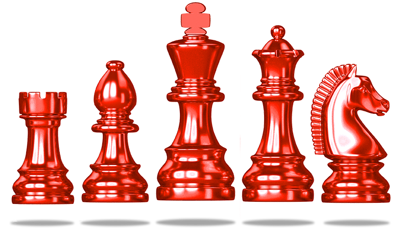 Mhood Mentor shining floating red chess pieces