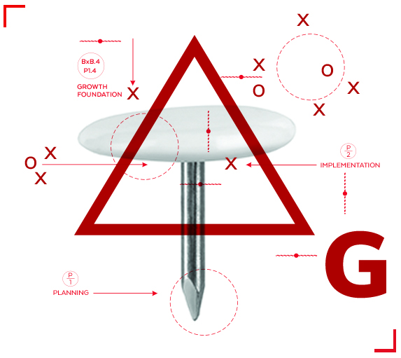 Thumbtack with geometric graphics and architectural number styles